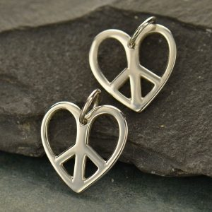 Sterling Silver Heart and Peace Sign Charm - C653