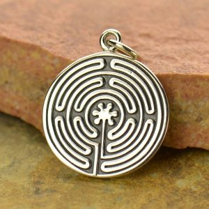 Sterling Silver Labyrinth Pendant - C1539, Yoga Charms,  Spiritual Transformation
