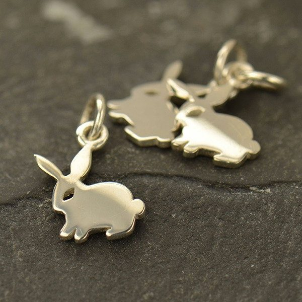 Tiny Sterling Silver Cutout Bunny Rabbit - C1528, Pet Charms