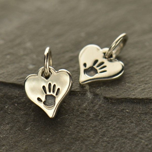 Tiny Sterling Silver Hand Print Heart Charm  - C1537, Family, Children, Stamped Charms, Childhood, Baby, New Mom