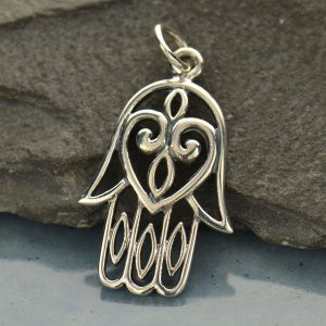 Large Sterling Silver Hamsa Hand - C573, Amulet, Protection, Hand of God, Faith, Happiness