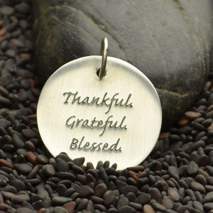 Thankful Quote Charm Sterling Silver - C2862, Thankful, Grateful, Blessed, Stamped Charms