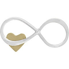 Infinity Link With Tiny Bronze Heart - C2997, Figure eight Infinity Charm, Connector Links, Bridal Collection, Bridesmaid Gift
