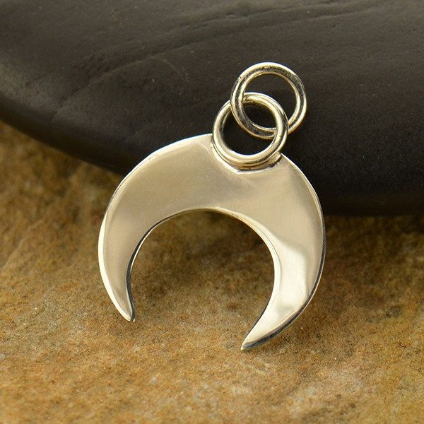 Crescent Moon - Inverted Crescent Moon with Wire Circle Pendant.- C2996, Celestial Charms, Blank Charms