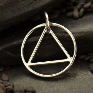 Triangle in Circle Link -  C2990, Abstract Charms, Connector Link, Geometric Shape