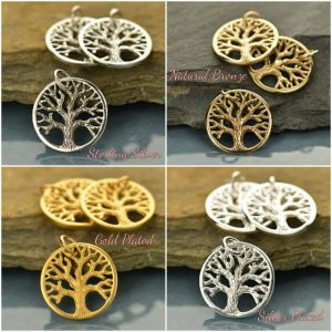Textured Tree Charms - C867, Family, Children, Bond,New Mom, Gift for Chic