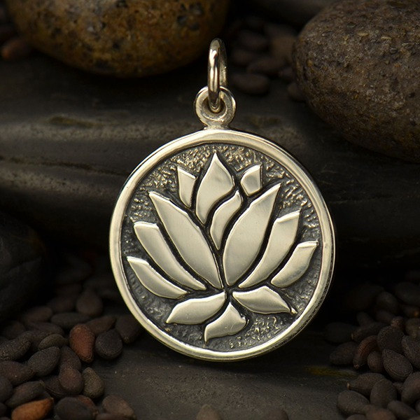 Etched Lotus Flower Charm Sterling Silver - C1577, SALE, Zen, Flower, Meditation, Yoga, Purity