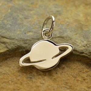 Saturn Charm Sterling Silver - C1582, Celestial, Moon, Sun, Stars, Sixth Planet, Galaxy, Solar System,  Astronomy, Orbit