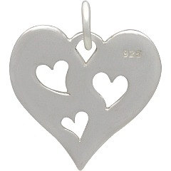 Disk with Three Hearts Cutout - C1474, Sterling Silver