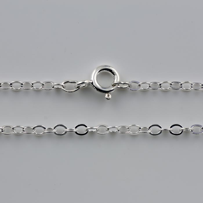 """1.3mm Oval Flat Cable Necklace Chains Sterling Silver  - CR2A, 20"""", 24"""" Chains, Bulk Discounts"""