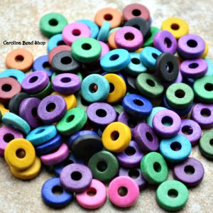 Mykonos 8mm Round Washer - 50PK, Brite Assortment - Greek Ceramic Beads - Spacer Disc