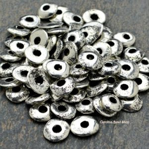 12 Mykonos Cornflake - 9-10mm Fine Silver - Wavy Round Rustic Disc - Greek Casting Beads -  Bright Silver, Dipped Beads
