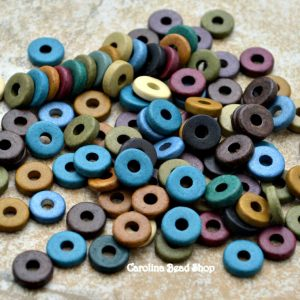 50 Mykonos 8mm Round Washer - Earthy Assortment - Greek Ceramic Beads - Spacer Disc