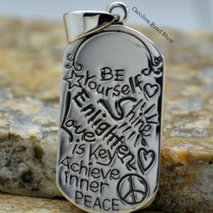 Be Yourself - Sterling Silver Word Pendant - CLOSEOUT SALE, Stamped Tags, Stamped Word Charms