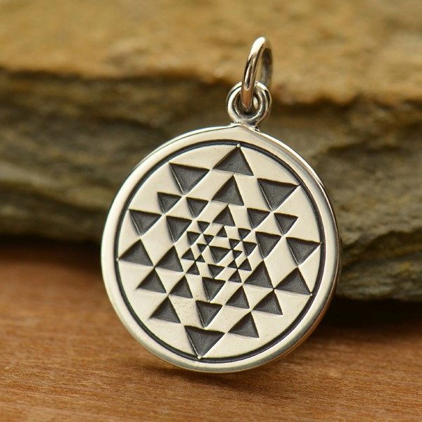 Sri Yantra Charm Sterling Silver - C1510, Zen Yoga, Symbolic Charm, Spirit
