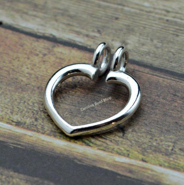 Heart Ring Keeper Pendant Sterling Silver  - C9255, Heirloom, Ring Charm Holder, Treasures