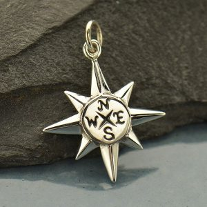 North Star Compass Charm Sterling Silver-  C1610, Celestial Charms, Nautical, Journey, Graduation, Travel, Gift for Friend