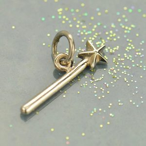 Sterling Silver Magic Wand Charm - C1619, Celestial Charms