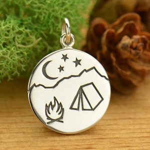 Campfire Mountain Scene Pendant Sterling Silver - C1643, Bonfire, Hiking, Nature, Scouting, Celestial