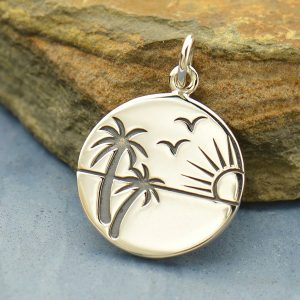 Etched Sunset in Paradise Charm Sterling Silver - C1644, Tropical Beach, Nautical, Palm Trees,  Gift for Beach Lover
