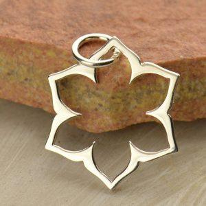 Sale - Sacral Chakra Lotus Frame Charm - C1439, Zen, Yoga, Meditation, Sterling Silver