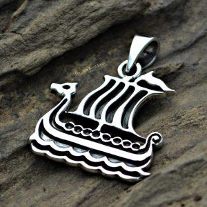 Sterling Silver Viking Ship Pendant - Warrior, Boat, Talisman