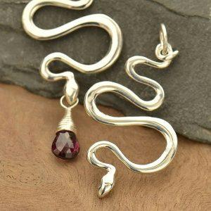 Snake Pendant Sterling Silver  - C404, Animal, Python, Serpent, Links, Pendant, 2 Hole Connector