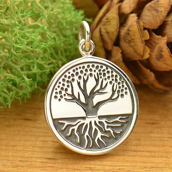 Etched Tree of Life with Roots Charm - Sterling Silver, C1671, Ancestry, Family, Children, Heirloom Charms, Gift for Loved One or Friend