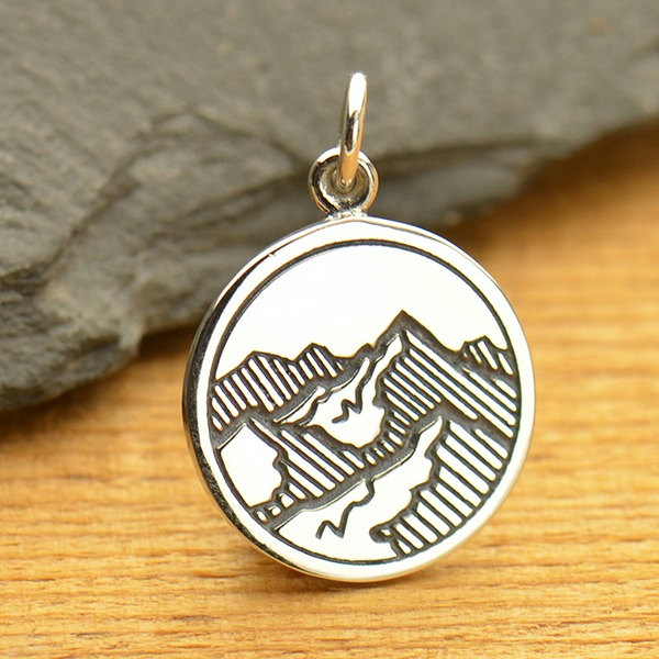 Etched Mountain Range Pendant - C1663, Hiking, Nature Charms, Vacation & Travel Charms, Ski Charms