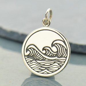 Etched Ocean Waves Pendant Sterling Silver - C1661, Beach, Nautical, Ocean, Surfer, Sealife, Gift for Beach Lover