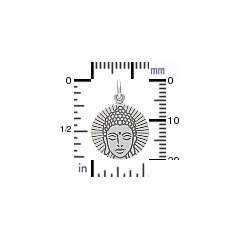 Etched Buddha Head Charm - Sterling Silver, C1674, Buddhist, Yoga Spirit Charms, Meditation, Zen