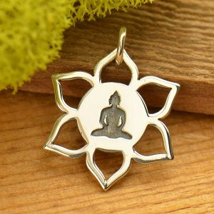 Meditation Buddha on Lotus Charm  - Sterling Silver, C1673, Buddhist, Yoga Spirit Charms, Meditation, Zen, Lotus Flower