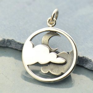 Moon and Cloud Pendant - C1642, Sterling Silver, Celestial Charms, Crescent Moon, Clouds