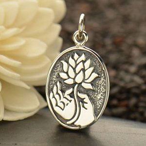 Buddha Hand Holding a Lotus Flower - C1673, Charms, Sterling Silver, Yoga Spirit Charms, Enlighten