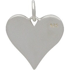 Love You More Heart Charm - C1686, Stamped Word Charms