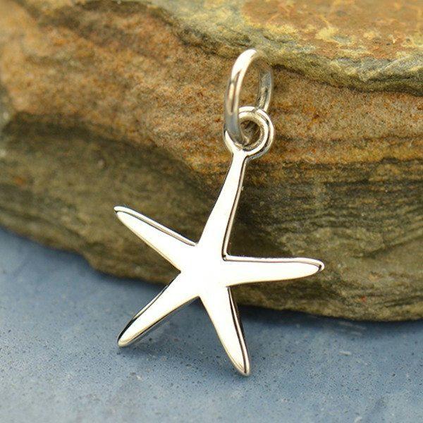 Flat Plate Starfish Charm.  - C1633, Sterling Silver, Nautical, Beach, Sealife, Beachcomber