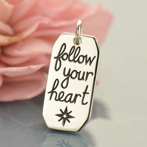 Follow Your Heart Compass Charm - C1689, Inspirational Charms, Love, Harmony, Journey Within