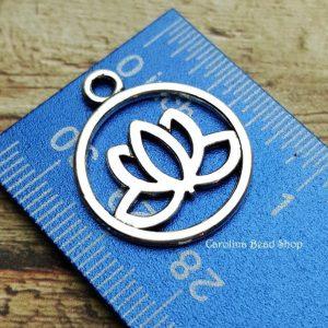 Lotus Flower Charm 5PK - Antique Silver Zinc Alloy, Zen, Meditation, Yoga Charms