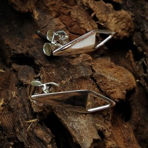 Triangle Post Earrings with Open Triangle Loop - C3042, Sterling Silver