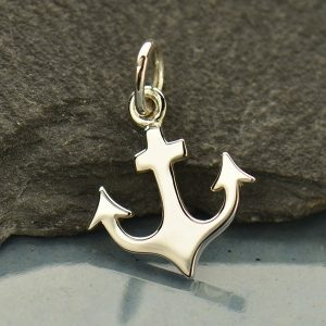 Flat Plate Anchor Charm - C1617, Sterling Silver, Nautical, Ocean, Beach, Sea life, Faith, Spiritual