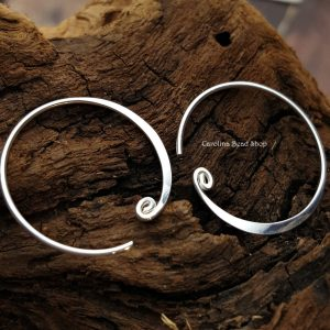 Curled Hoop Earring Finding - C4055, Sterling Silver - Findings, Hoop Style, Wholesale Listing Price
