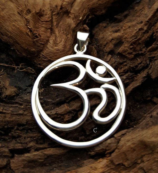 Sterling Silver Large Ohm Pendant - C879