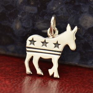 Democratic Donkey Charm with Stars and Stripes - C1692, Sterling Silver, Democratic Vote, Keepsake Charms