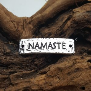 NAMASTE -  10PK, Antique Silver Plated  - Bracelet Links, Yoga, Meditation