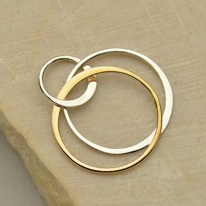 Mixed Metal Bronze & Sterling Silver Circle Links  - C3075, Connectors, Findings, Infinity Links