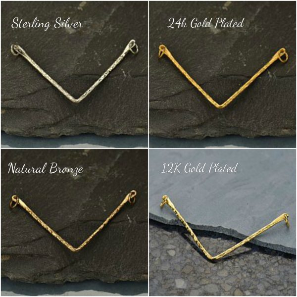 Hammered Chevron Pendant -  C2736, Link, Connector, Bar Links, Choose Your Favorite Style
