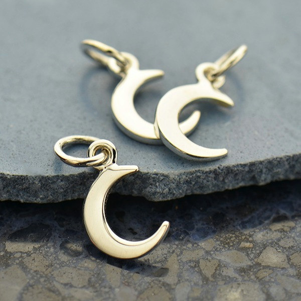 Tiny Sterling Silver Crescent Moon Charm  -  C1365, Mom Charms, Baby, Celestial Charms
