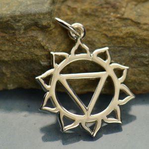 Solar Plexus Chakra Charm - C1422, Sterling Silver, Zen, Yoga, Meditation