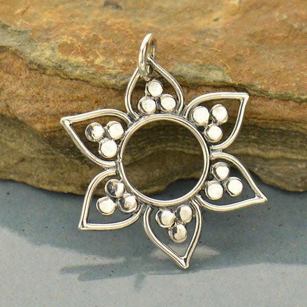 Lotus Pendant with Flat Granulation- C3038, Zen, Yoga, Meditation, Flower