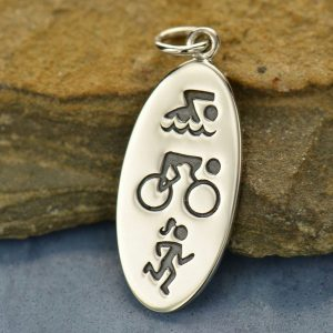 Triathlon Symbols Fitness Charm - Sterling Silver, - Stamped Charm, Words, C1492